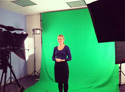 Recording a video reporting segment for the International Business Times UK